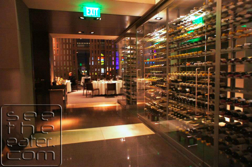 Entrance to main dining area. Large wine cellar