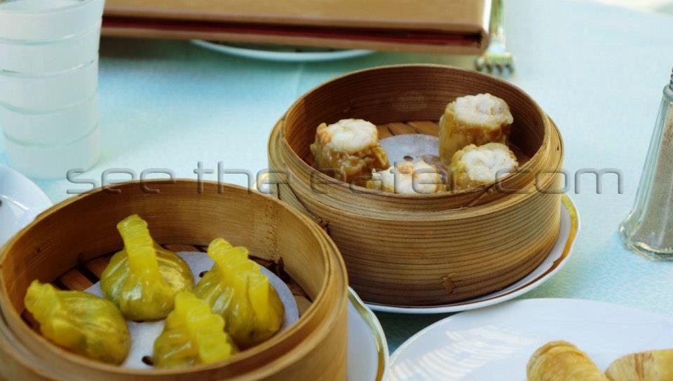 Front: Special Shark Fin Dumplings (翡翠魚翅餃) Back: Steamed Abalone and Pork Dumpling (鮑魚蒸燒賣)