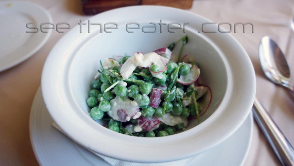 English Peas pea shoots, Meadowood garden radishes, feta