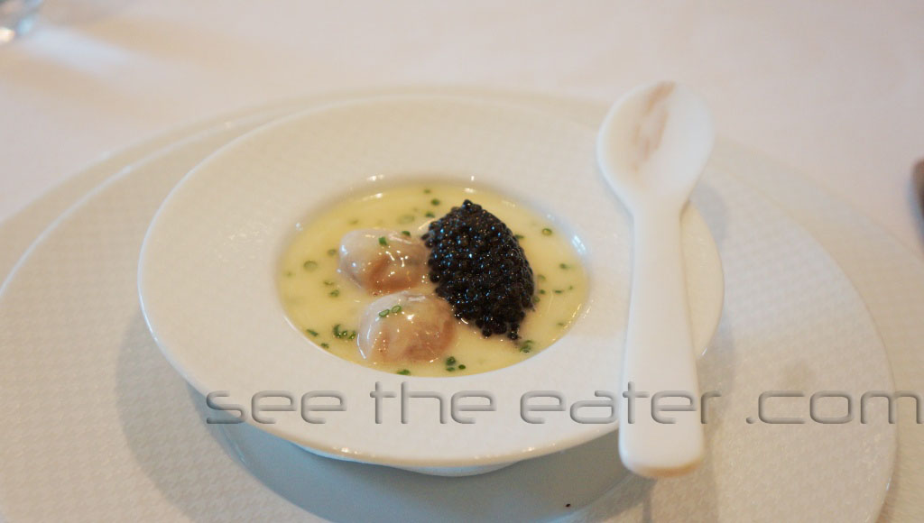 """Oysters and Pearls"" ""Sabayon"" of Pearl Tapioca with Island Creek Oysters and White Sturgeon Caviar"