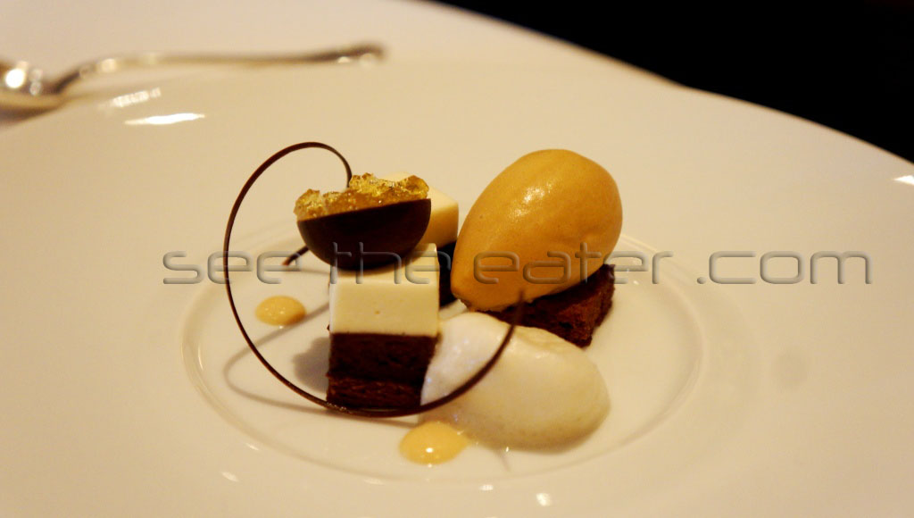 """Dark Treacle"" Devil's Food, Valrhona Chocolate ""Marquise"" Lyle's Golden Syrup and Marshall Farms Burnt Honey Ice Cream"