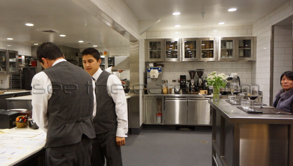 Kitchen (a two guest seat chef's table on the right side of the photo)