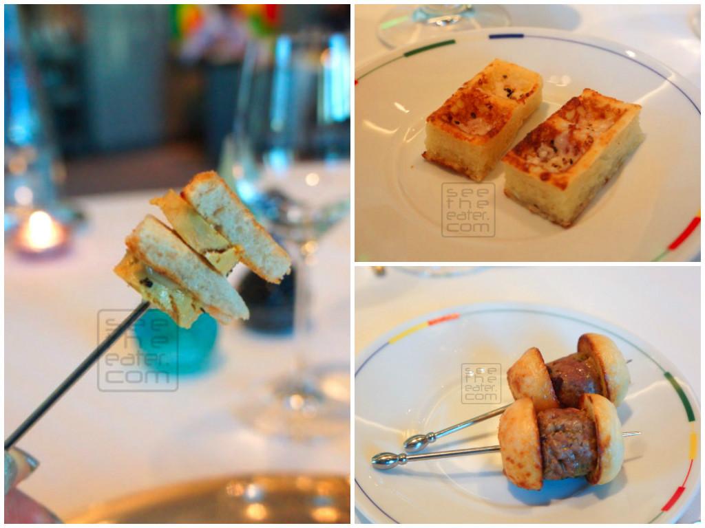 Delicious amuse bouche: Left: Mini foie gras and black truffle bread Top right: Parmesan Waffles Bottom right: Mini Burgers