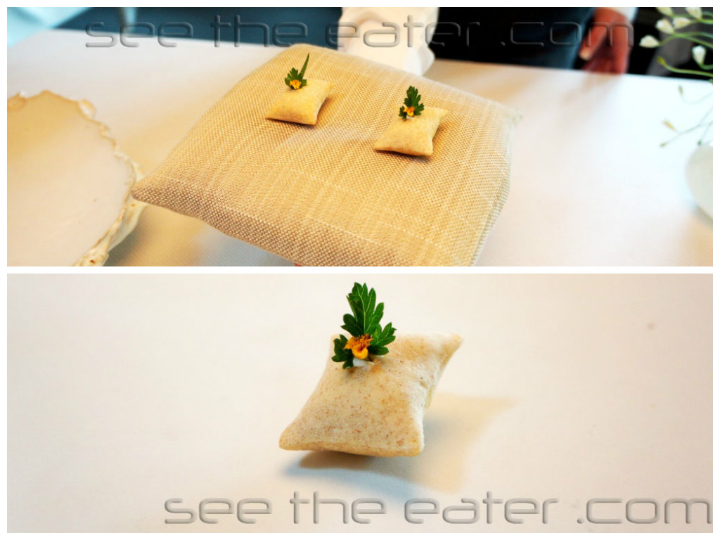Amuse bouche: Pillows on a Pillow Crispy, filled with formage blanc