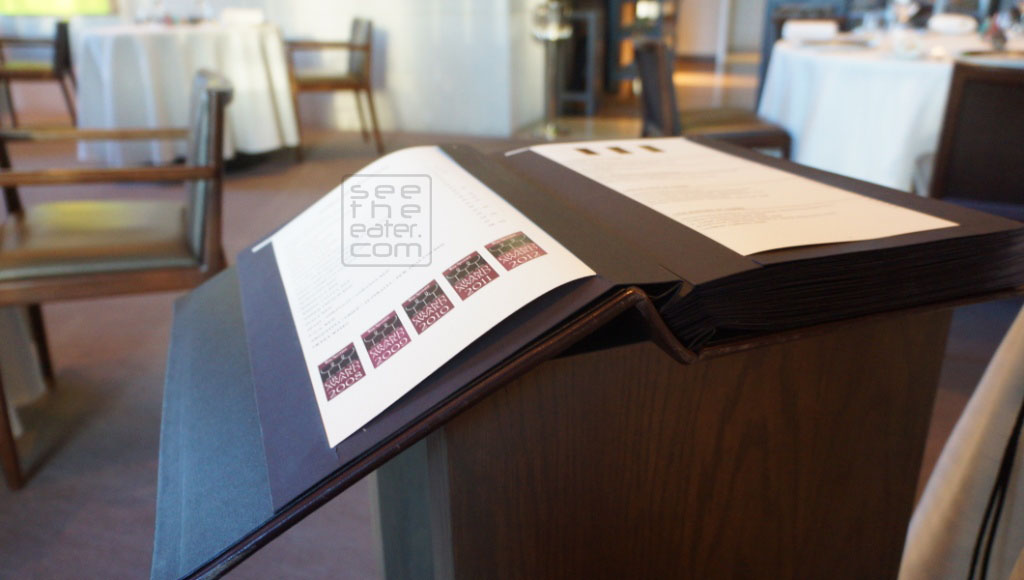 Thick wine list. They bring the table to you for you to flip through the wine list.
