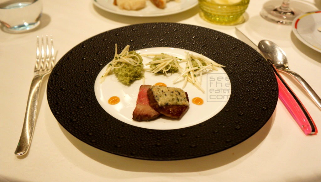Japanese Wagyu, Sesame Seed and Tarragon Crust, Heart of Palm Salad, Sponge Cake