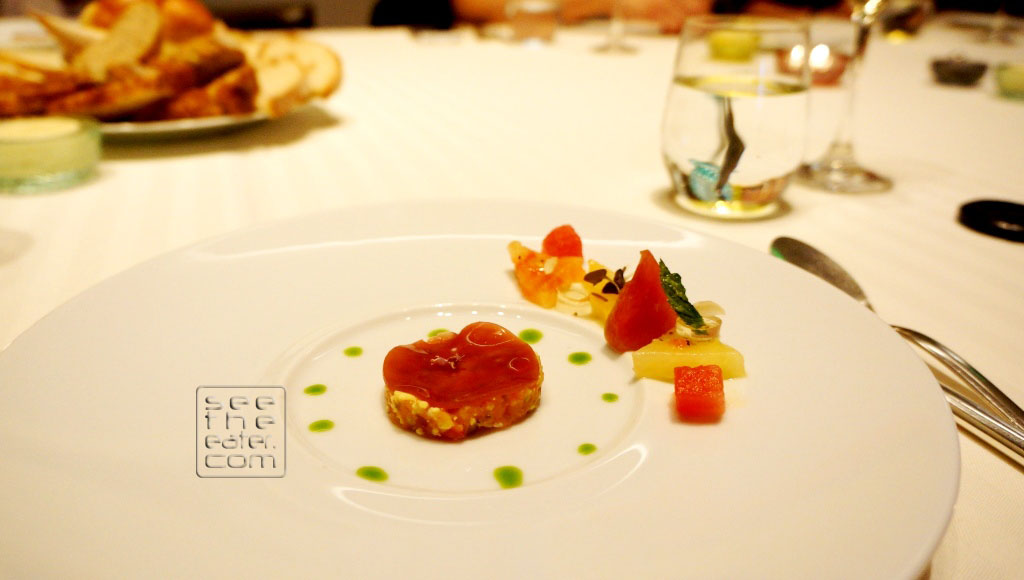 Heirloom Tomatoes Salad and Tartare, Frozen Vinaigrette Paired with Hippolyte Reverdy, Sancerre, 2011
