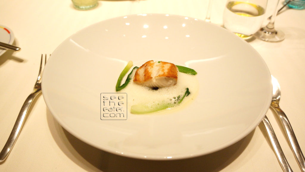 Black Cod, Spring Vegetables and Seaweed Jus Paired with Jean Chartron, Les Benoites, Chassagne-Montrachet, 2004