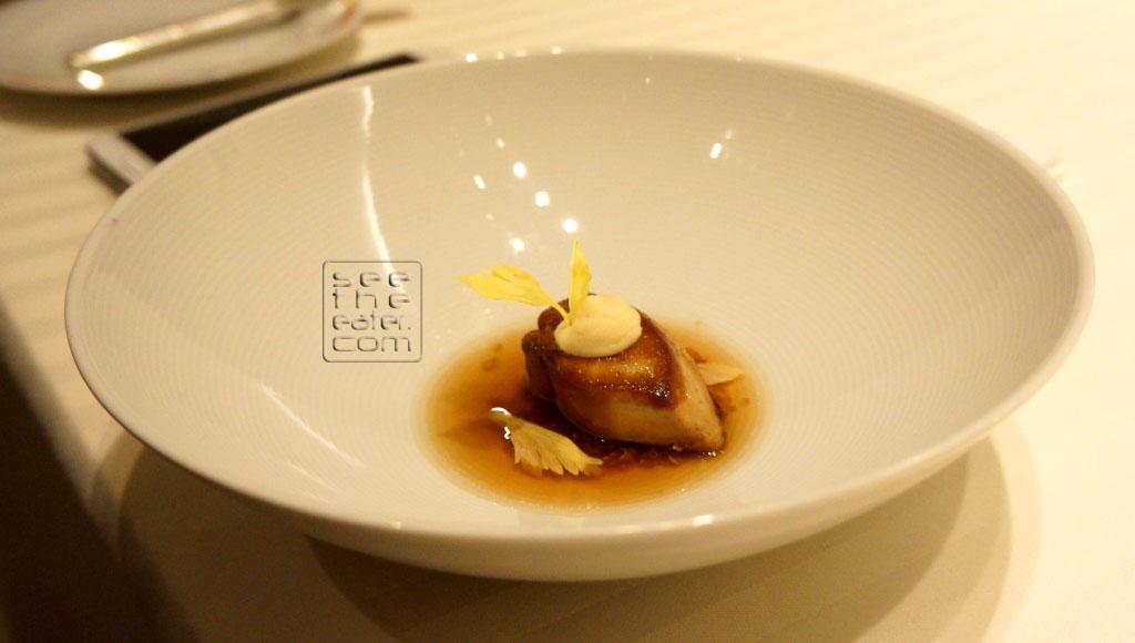 Foie Gras, Crispy Quinoa, Duck Potato Chip Consomme Paired with Domaine Pierre Usseglio & Fils, Chateauneuf-Du-Pape, 2010