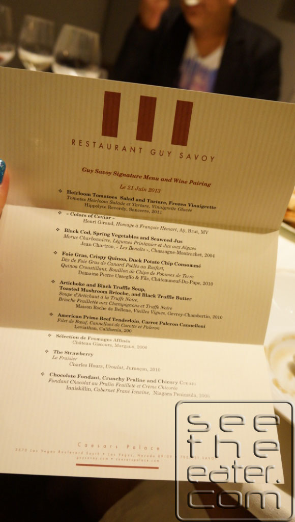 Chef Mathieu signed and presented me with our menu of the night with the wine pairings.