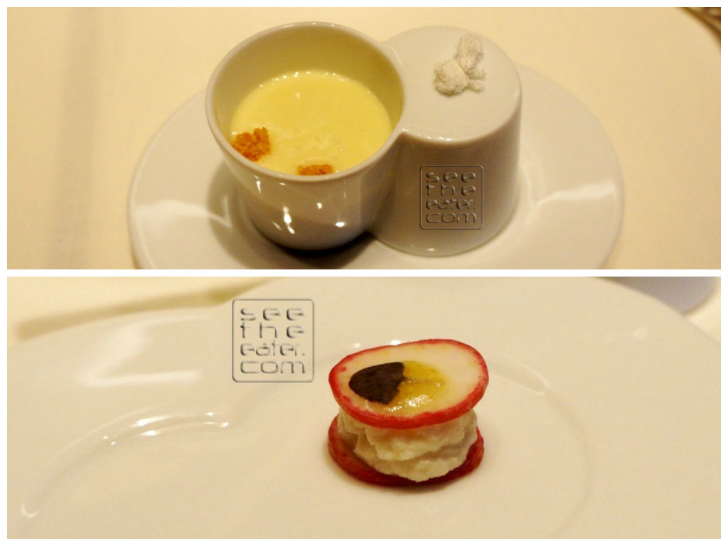 Amuse bouche I forgot exactly what ingredients were in this dish. You are presented with the soup on on the top photo. The waiter tells you that after you drink the soup, there is a surprise on the bottom, which is shown on the bottom photo.
