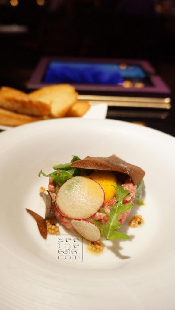 WAGYU BEEF TARTARE Crushed Caper Aioli Slow Poached Egg/Crispy Chocolate
