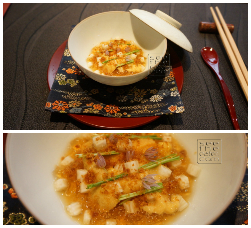 Grilled corn small egg custard with fresh sea urchins and fragrance of 3 varieties of onions