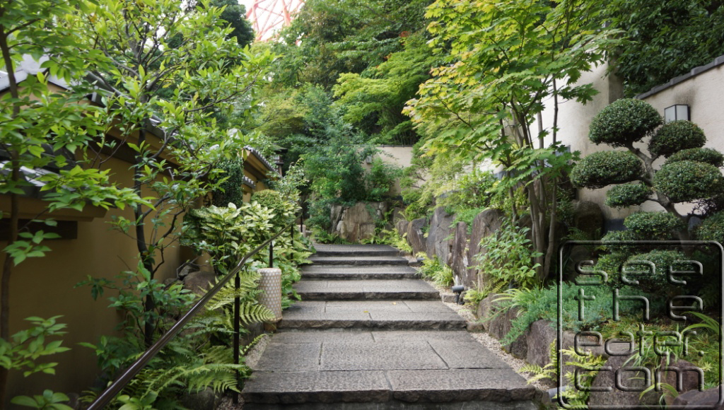 Walking from the entrance and entering the garden