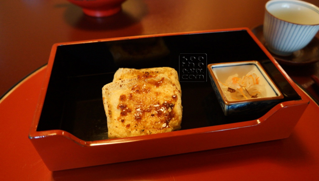 Deep Fried Tofu Coated with Sweet Miso Sauce