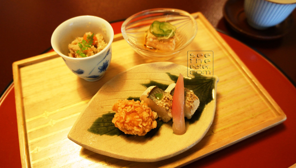 Sweetfish Sushi, Sea Eel and Cucumber Simmered Okara & Flied Shrimp Covered with Rice Crackers